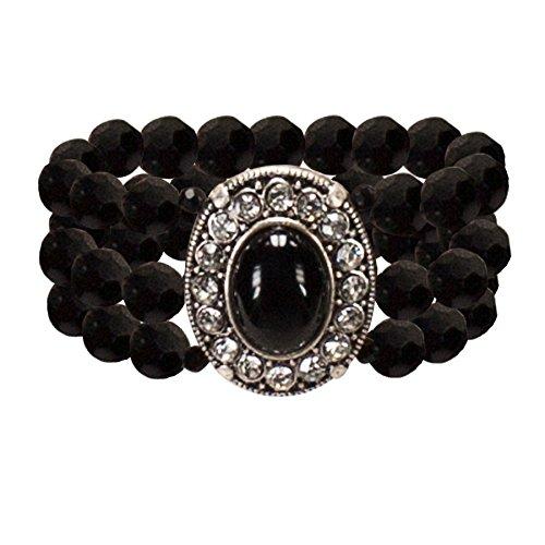 Alpenflüstern Perlen-Trachten-Armband Sissi - Damen-Trachtenschmuck, elastische Trachten-Armkette, Perlenarmband mehrreihig schwarz DAB033