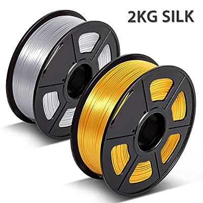 PLA Silk Filament,3D Printer Filament Shinny Silk,3D Warhorse Silk PLA 1.75mm,Dimensional Accuracy +/- 0.02 mm,2 kg (4.4lbs) Spool,Silver+Light Gold
