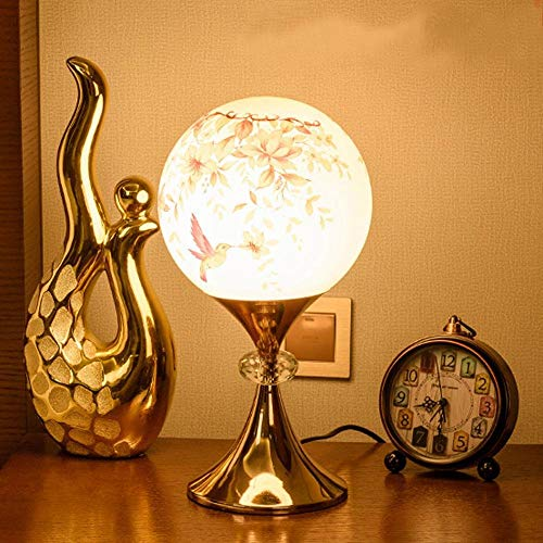 SGWH/Romantische, elegante en klassieke ontwerp LED bureaulamp, met glazen bal ontwerp lampenkap, metalen behuizing met gouden verf voor slaapkamer, woonkamer, decoratie