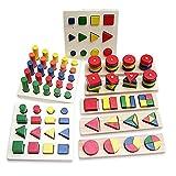 BEETEST 8 piezas Bebé juguetes educativos de madera geometría forma aprendizaje enseñanza Sorter bloque juguete juego de combinación de apilamiento para 3-6 años los niños viejos