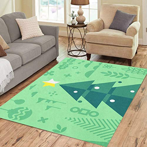 Vooft Area Rugs Christmas House Tree with of in Red Tone for Greeting and Multi Purpose Soft Flannelette Fluffy Not Easy to Slip Dirty Carpet Transitional Floor Decor Living Room 3'x5'