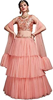 nityanta fab Women's net Lehenga Choli (P-ruffle_ Pink_ Free)