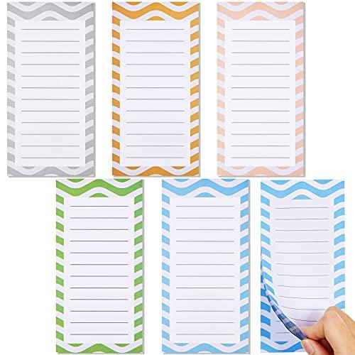 Magnetische Notizblöcke für Kühlschrank mit Stifthalter, modernes Design, magnetisch, To-Do-Liste, Kühlschrank-Aufkleber, Einkaufsliste, 15,2 x 7,6 cm, 50 Blatt pro Block, 6 Farben