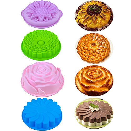 MEIBEL 4PCS big Non-Stick Flower Shape jello Silicone Cake Bread Pie FlanTart Baking Pans Molds for Birthday Anniversary Party DIY