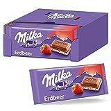 Milka Erdbeer 100g, Zartschmelzende Schokoladentafel mit Erdbeercrème