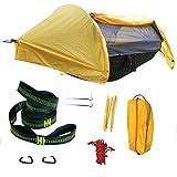 Camping Hammock,Camping Hammock with Mosquito net and Rain Fly,Camping Hammock Tent,Waterproof Hammock Lightweight Portable Hammock Tent Parachute Nylon Hammock for Outdoor Backpacking Hiking(Yellow)