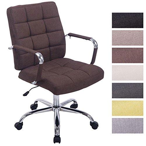 CLP Bürostuhl Deli PRO mit Stoffbezug I Schreibtischstuhl mit Metalldrehkreuz I Chefsessel mit Laufrollen I erhältlich Braun