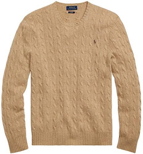 Polo Ralph Lauren Men's Pony Cable Knit Crewneck Sweater (Brown - XL)