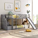 Merax Solid Wood Low Kids, Twin Stairway Bunk Bed with Two Drawers and Slide, Gray