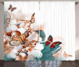 ABAKUHAUS Naturaleza Cortinas, Colorido de Las Mariposas Mosca, Sala de Estar Dormitorio Cortinas Ventana Set de Dos Paños, 280 x 175 cm, Multicolor