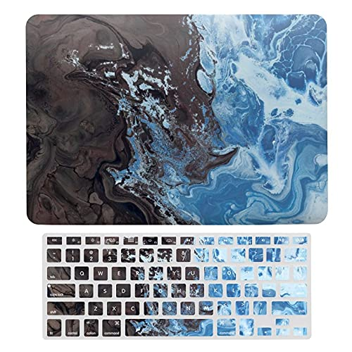 Ink Marble Texture Laptop Protective Case ,Silicone Keyboard Film, Super Thin Plastic Hard Shell Cover for MacBook air 13,Compatible with A1466 / A1369 / A1706 / A1989 / A2159