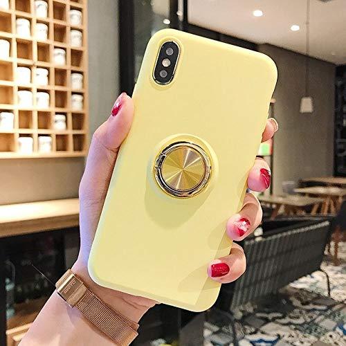 KKAAVV Funda de teléfono con Anillo de Silicona líquida para Xiaomi Redmi Note 7 Note 6 Funda Pro Funda Ultrafina Soporte Suave para Xiaomi Mi A2 6X Mi 9, Amarillo, para Xiaomi Mi A2