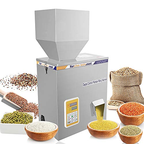 Hanchen Powder Filling Machine 5-500g Glitters Particle Weighing Filling Machine Automatic Bottle Bag Powder Filler for Tea Seeds Grains Powder with Foot Pedal 110v
