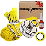 625lb Double Sided Fishing Magnet Bundle Pack - Includes 6mm 100ft High Strength Nylon Rope with Carabiner, Non-Slip Rubber Gloves, Threadlocker, Tape & Double Sided (Complete Kit)