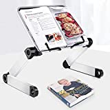 Book Stand, Recipe Book Holder, Desktop Book Holder, Adjustable Ergonomic Book Holder, Hands-Free Stable Stand for Bed, Portable Aluminum Home Desk Stand with Page Paper Clips (Black)