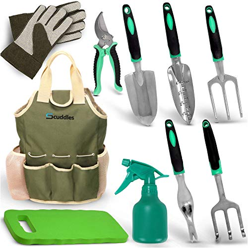 Scuddles Garden Tools Set - 7 Piece Heavy Duty Gardening Tools with Storage Organizer, Ergonomic Hand Digging Weeder, Rake, Shovel, Trowel, for Men & Women