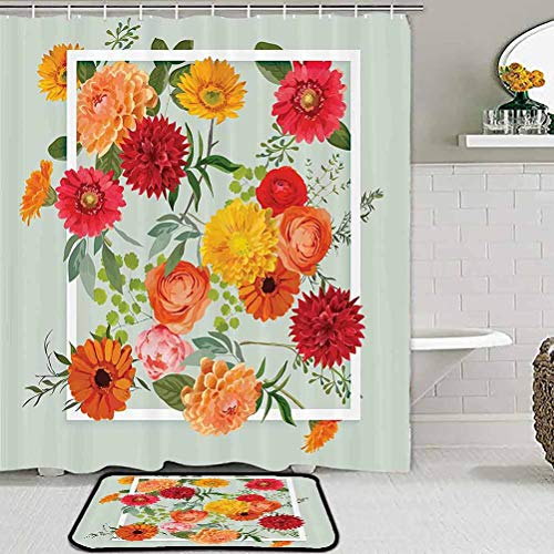 Shabby Chic Decor Shower Curtain Sets with Rugs and Towels and Accessories Floral Flowers Leaves Buds Frame Art Print Kids Home Decor Rugs Pale Green Dark Coral Mustard Peach Red