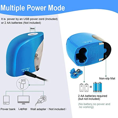 Pencil Sharpener,Electric Pencil Sharpener for NO.2 Pencils and Colored Pencils,Portable Automatic Electric Sharpener Feature for Home/School/Classroom/Office,USB or 2AA Batteries BLUE Photo #7
