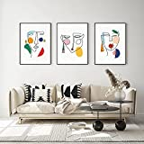zuomo Línea Minimalista Cara Mujer Abstracta escandinava Arte Lienzo Pintura Carteles e Impresiones Cuadro de Pared para decoración de Sala de Estar 50x70cm sin Marco