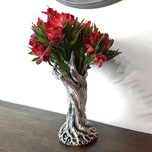 ZMLKDS Dryade Vase Dekoration Home Desktop Harz Handwerk Blumenarrangement Harzvase Dryad Kreative Kofferraumdekoration Wohnzimmer Ornament Baumstamm Einrichtung Handgemachte...