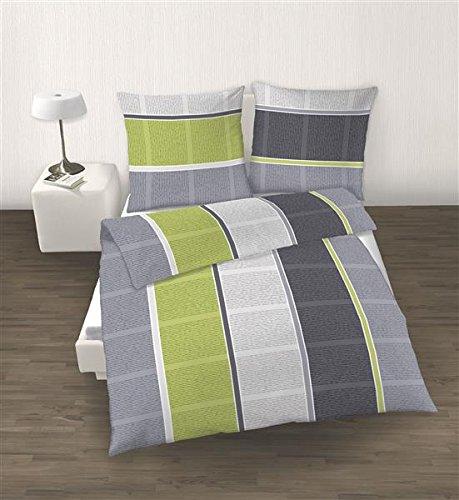 Ido Parure de lit en flanelle 4 Pièces Housse de couette 135 x 200 cm Taie d'oreiller 80 x 80 cm rayures gris vert