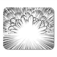 マウスパッドマウスパッドエフェクトコミックブック爆発黒と白の放射状ラインマンガ速度アクションスタンプ火災マウスパッドマットノート用、デスクトップコンピューターアクセサリーオフィス用品