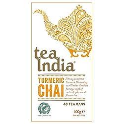 Truly authentic chai Blend of turmeric, ginger, fenugreek, Assam black tea, galangal, cinnamon, Indian psyllium Infuse in simmering milk to a delightful turmeric chai latte