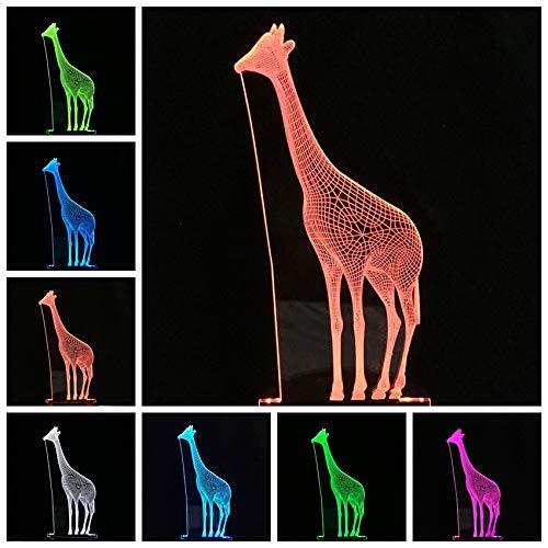 Giraffe lamp 3D illusie 7 kleuren touch-schakelaar USB gebruik LED-licht tafellamp kinderen bedlampje kerstcadeau verjaardagscadeau