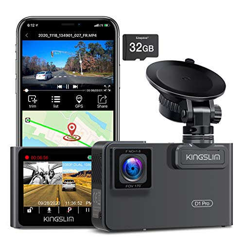 Kingslim D1 Pro 2K Dual Dash Cam with Wi-Fi GPS, 2K/1080P Front and Inside Cabin Car Camera Driving Recorder, Dual Sony Sensor with 340° FOV, Super Night Vision, Loop Recording, 24Hr Parking Monitor