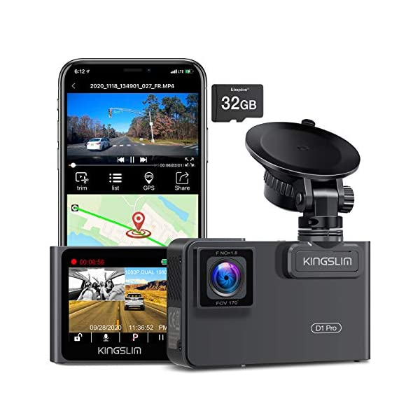 Kingslim D1 Pro Dual Dash Cam with Wi-Fi GPS, 2.5K/1080P Front and Cabin Dash Camera...
