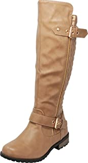 Women's Quilted Side Zip Knee High Flat Riding Boots