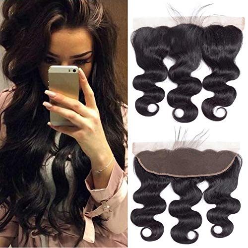 """QTHAIR Free Part Ear To Ear 13x4"""" Full Frontal Lace Closure 10inch Brazilian Body Wave Bleached Knots 100% Unprocessed Brazilian Virgin Best Remy Real Human Hair Front Closures Natural Black"""