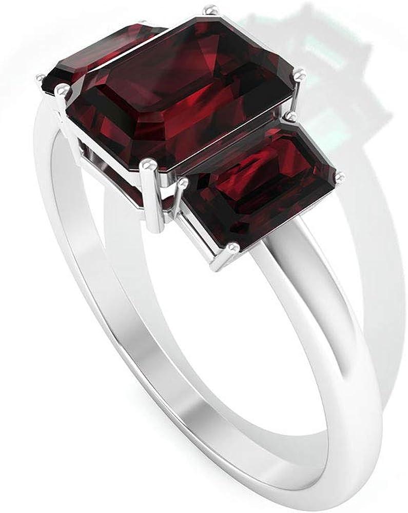 1.85Ct SGL Certified Garnet Gold Ring, Statement Women Partywear Ring, Unique Octagon Shape Gemstone Wedding Ring, Three Stone Bridesmaid Promise Ring, 14K Gold