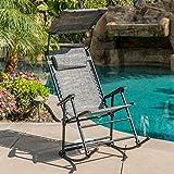 Modern Zero Gravity Orbital Chair Rocking Lounge Patio Folding Relax Outdoor Backyard Gray with Canopy Lounge