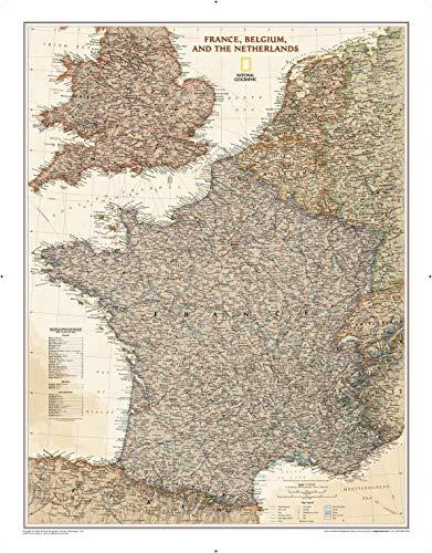 National Geographic: Francia, Bélgica y los Países Bajos Executive Wall Map – Diseño antiguo – 61,6 x 78,7 cm – Impresión de calidad artística