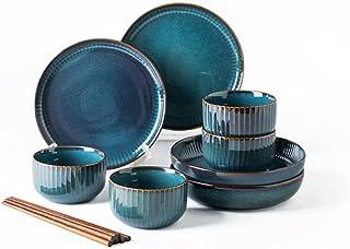 Ensemble de Vaisselle Bleu Avec Assiettes à Salade,Ensemble de Vaisselle 12/20/28 PièCes,Ensemble de Vaisselle Vaisselle e...