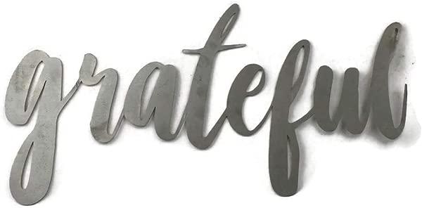 Grateful Standard Size Raw Steel Unpainted Word Art