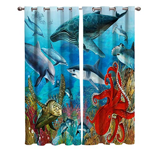DTBDWOST Blackout Curtains - 3D Printing Super Soft Curtains For Bedroom Eyelet Curtains - Shark Octopus Turtle Coral Dolphin Tuna 150X166 Cm (Wxh) Drop Noise Reduce Curtains For Living Room/Home Of