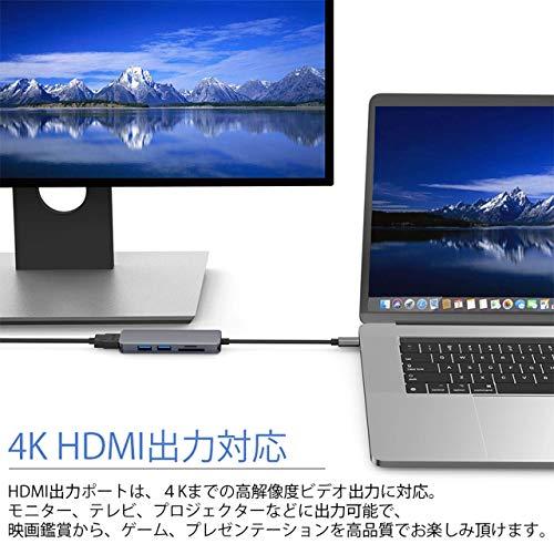 GoodsLand【4K対応】5in1typeCtoHDMI変換アダプタ変換ケーブルセレクタータイプCハブドッキングステーションUSB3.0SDMicroSDカードリーダーGD-TYPEC-5IN1