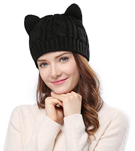 Bellady Women's Hat Cat Ear Crochet Braided Knit Caps,Black