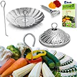 PREMIUM Vegetable Steamer Basket - BEST Bundle - Fits Instant Pot Pressure Cooker 3, 5, 6 Qt & 8...