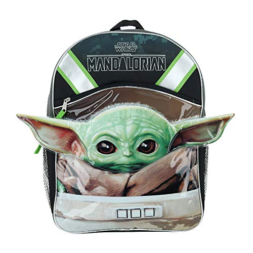 Star Wars The Child  Baby Yoda 16  Half Moon Backpack with 1 Zipper Front Pocket & Ears