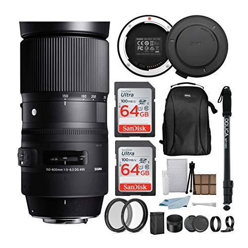 Sigma 150-600mm 5-6.3 Contemporary DG OS HSM Lens for Nikon DSLR Cameras with Sigma USB Dock and 64GB Travel Bundle