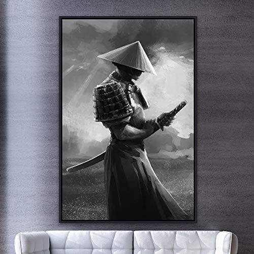 ganlanshu Pintura sin Marco Samurai Moderno Lienzo Abstracto Pintura Mural Imagen de Sala de Estar decoración del hogar Carteles e impresionesAY5484 50X70cm