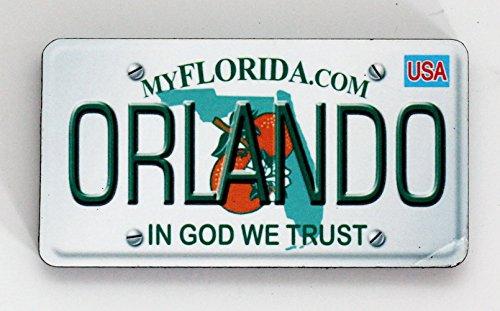 Orlando Florida License Plate Wood Fridge Magnet 3' x 1.5'