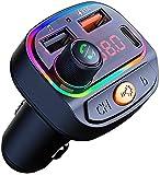 Transmisor FM Bluetooth 5.0, [Luz de Anillo 7 Colores] Manos Libres Bluetooth Coche con Carga rápida QC3.0 y Tipo C Rall, Reproductor MP3 Coche Mechero, Doble USB 5V y 3.1A,USB + U Disk