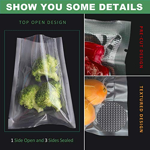6×8 Inch Vacuum Sealer Bags,Heavy Duty Pre-Cut Design Commercial Grade Food Sealable Bag for Heat Seal Food Storage,Smell Proof Bags Boilsafe to 280°F Freezable, Resizable,Reuseable (100Pcs)