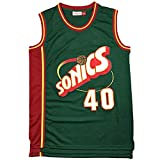 # 40 Shawn Kemp Seattle Supersonics - Camiseta de baloncesto para hombre, diseño retro bordado, para verano, al aire libre, secado rápido, transpirable, malla