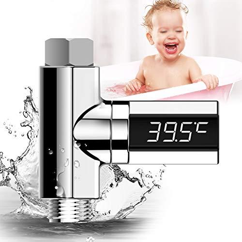 Termómetro Ducha LED, termómetro de monitor de flujo de agua en tiempo real autogenerador, pantalla giratoria de 360 °, para niños, adultos, hogar, cocina, baño (1/2 pulgada)