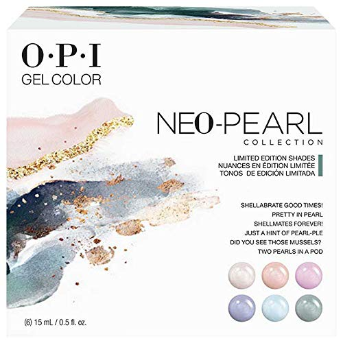 OPI Neo Pearl GelColor Collection, Gel Nail Polish, Gel Color 6 Color Piece Kit